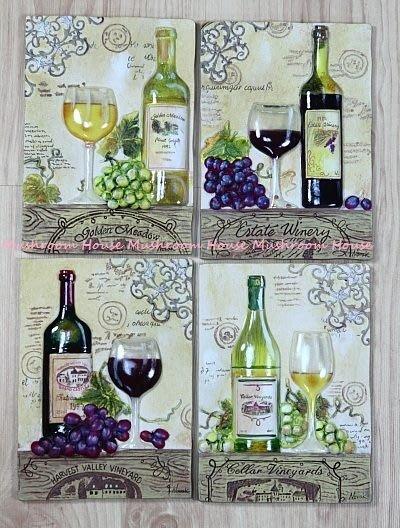 點點蘑菇屋{璧飾}美國 new view葡萄酒系列壁掛畫 立體浮雕 掛飾 壁磚 (四片一組)