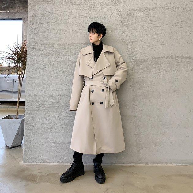FINDSENSE 2019 秋冬上新 G19  經典氣質雙排扣夾棉風衣長大衣男裝百搭寬鬆休閒外套