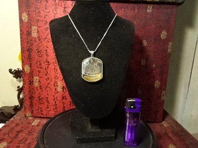 「小胖的店』超頂級~天然水晶~鈦金絲~水晶,~坐姿黃財神~925銀項框~珮項練