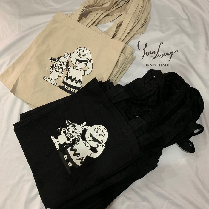【Luxury】現貨 Snoopy 史努比 查理布朗 帆布袋  肩背包 黑 米 韓國製 韓國代購