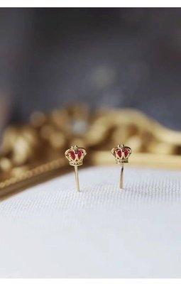 香港正生純銀 HK 皇冠權杖純銀耳環 S925 耳針式 如意貓