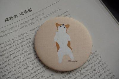 韓國製動物粉彩電繪隨身小圓鏡(柯基 Welsh Corgi)(全新現貨)