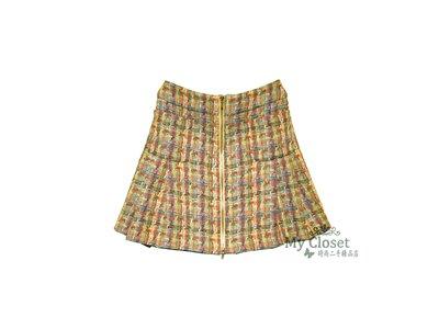My Closet 二手名牌 CHANEL 2017 多色彩軟呢 蕾絲 抓褶A- Line 雙口袋 金色拉鍊短裙