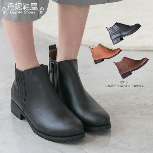 短靴 復古百搭好穿全素面 真皮短靴 機車靴 MIT台灣手工鞋 丹妮鞋屋