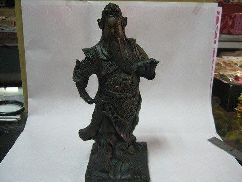 早期-青銅塑像-(戰甲)關公---