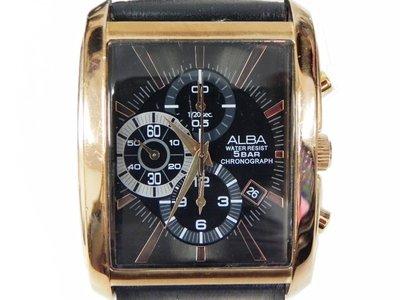 三眼錶 [ALBA 790338]  SEIKO ALBA 雅柏方型大錶面玫瑰金[黑色面]時尚錶/ 軍錶/ 中 高雄市