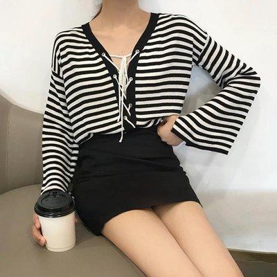 秋裝女新款韓版學生喇叭長袖條紋針織衫時尚寬鬆防曬繫帶開衫上衣店長熱推