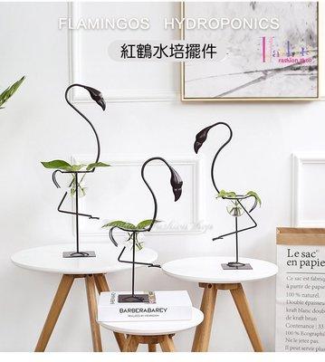 ☆[Hankaro]☆ 浪漫創意小清新水培玻璃容器鐵藝紅鶴造型花器(大尺寸款)~(批發另洽)