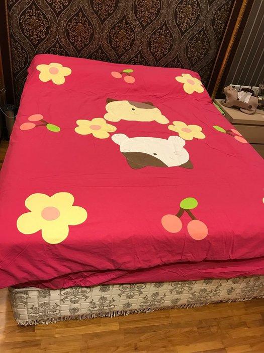日本卡拉貓~花團錦簇抗菌純棉雙人床組 深桃紅