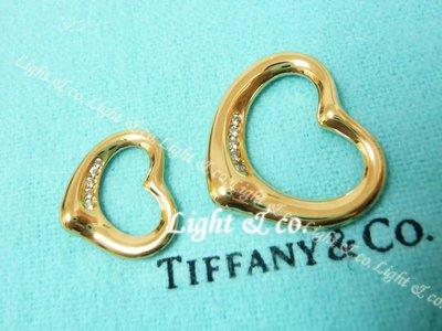 【Light】專櫃真品 TIFFANY 750 K金 18K  5 鑽石 Open Heart 項鍊 中愛心 心型 項鍊