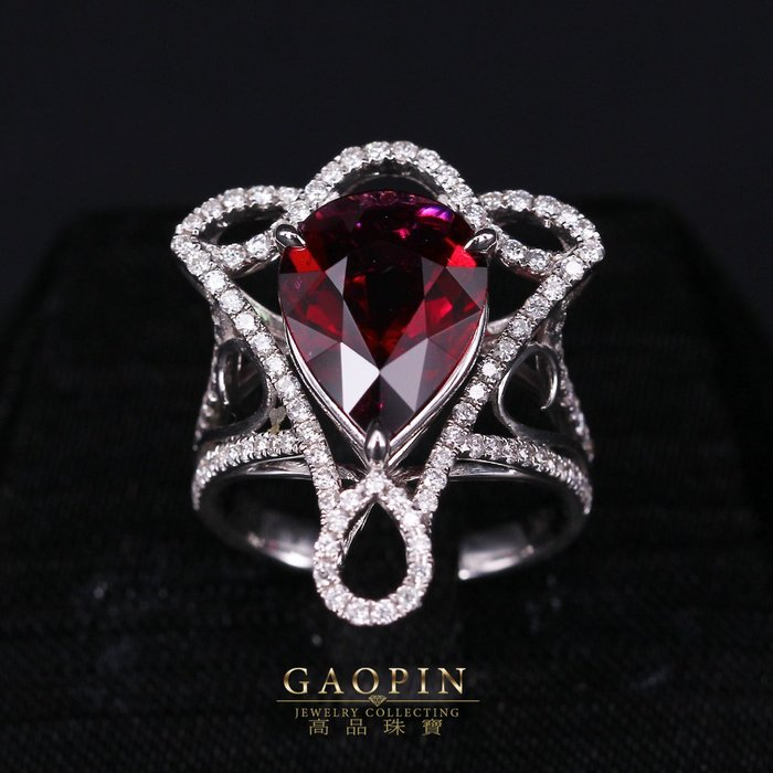 【高品珠寶】鴿血紅4.27克拉碧璽戒指 18K金 #531