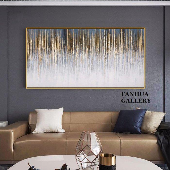 C - R - A - Z - Y - T - O - W - N 純手繪立體筆觸油畫金色線條抽象藝術掛畫橫幅手繪裝飾畫商空美學空間設計師款高檔手繪油畫收藏掛畫