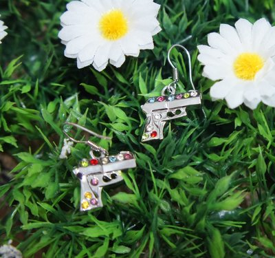 ( 全新 ) 可愛的彩鑽手槍造型耳環
