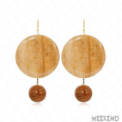 【WEEKEND】ROSANTICA Bambu 木質 兩用 鍍金 垂墜 一對 耳環 18秋冬