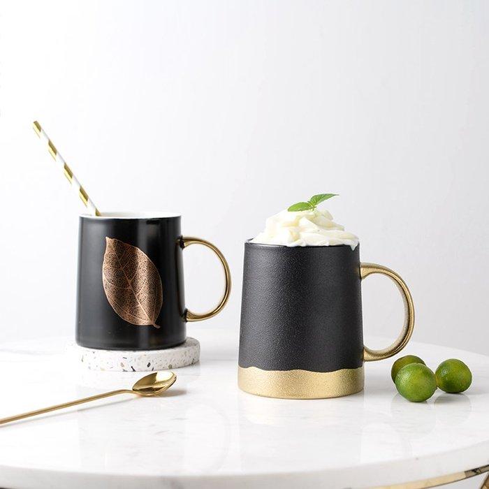 MAJPOINT*馬克杯 杯子 陶瓷 水杯 咖啡杯 描金黑色 交換禮物 日式對杯 北歐簡約 奢華貴氣 早餐餐具 果汁牛奶