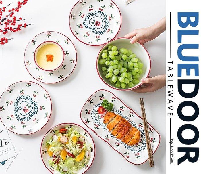 BlueD_森林櫻桃 套組 碗盤組 10件組 盤子 平盤 深盤 烤盤 飯碗 魚盤 家庭套組日式北歐設計裝潢 新居入遷禮物