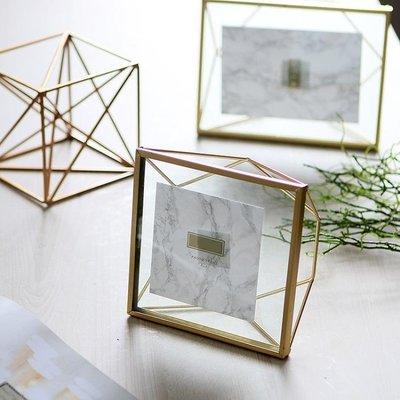 柔軟時光北歐金屬玻璃幾何金色相框創意擺件照片裝飾畫框擺臺