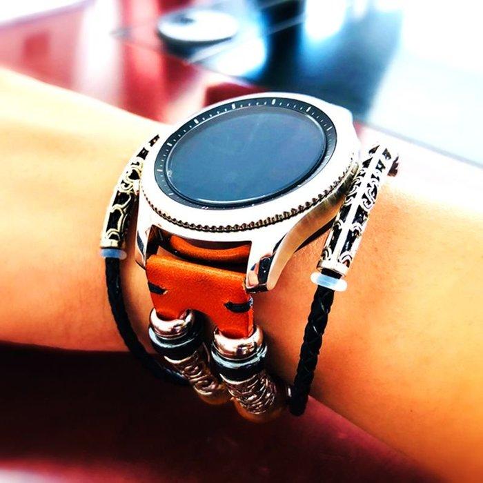 華為 榮耀 Magic Dream  錶帶 真皮手錶帶 復古民族風 智能手錶帶 22mm替換腕帶 頭層牛皮 替換腕帶