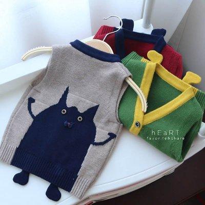 【可愛村】拼色貓咪毛衣無袖背心 童裝 針織背心 毛衣背心