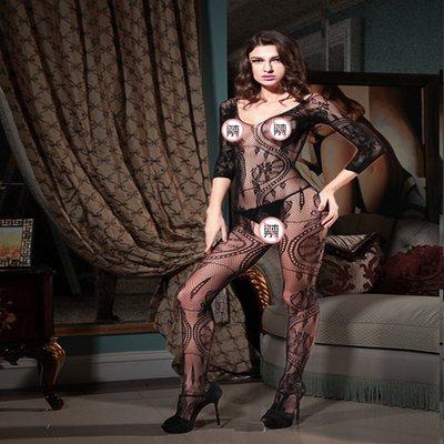 歐美情趣内衣鏤空提花開檔女透明蕾絲性感絲襪網衣 曉8060
