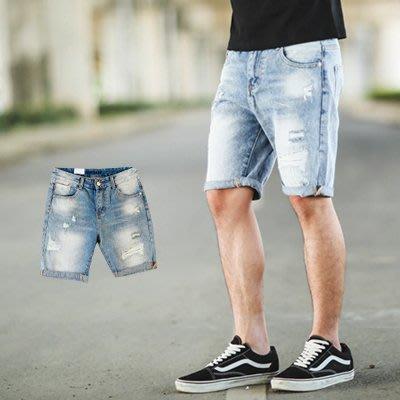 柒零年代【NB0271J】打霧刷色小抓破牛仔短褲(LE-PA33)