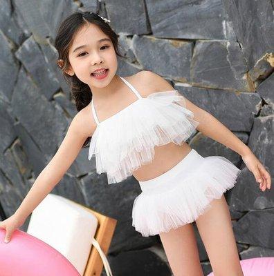 莎芭 泳裝 爆款女孩兒童分體遊泳衣 中大童2-15歲可愛寶寶演出服 比基尼
