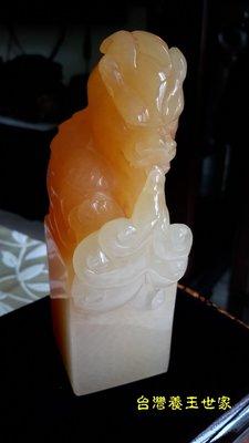 (台灣養玉世家)光亮雙色,金田黃玉石,吉祥獸