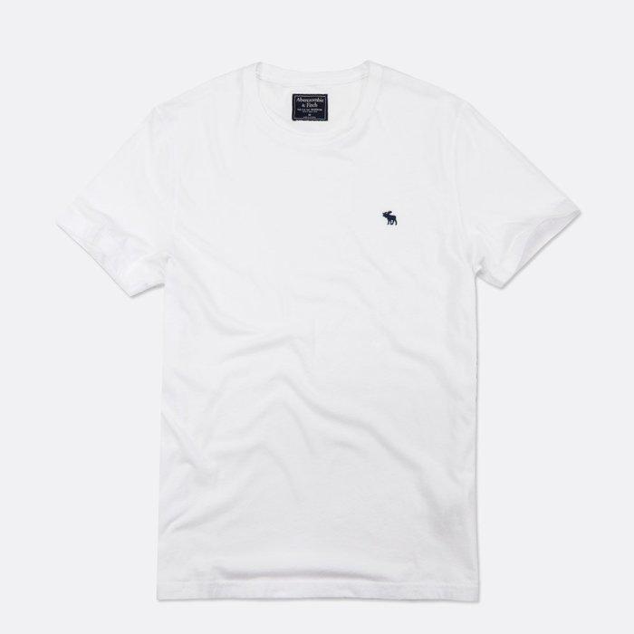 【Abercrombie&Fitch】【A&F】AF男款短袖素T新標款黑藍小鹿白 F07190704-13
