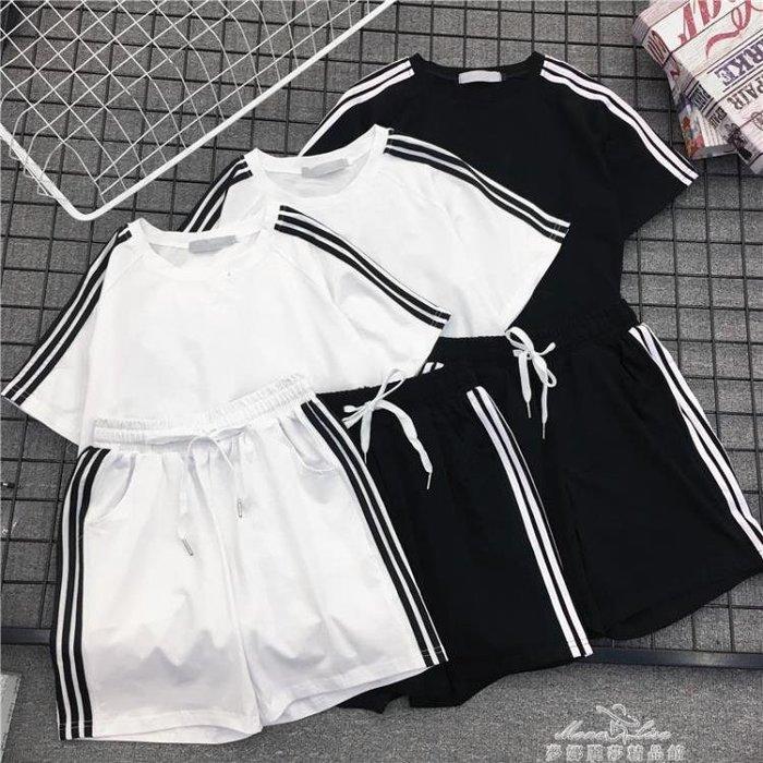 夏新款韓版寬松大碼短袖短褲運動套裝女原宿bf港風跑步休閒兩件套 一件免運