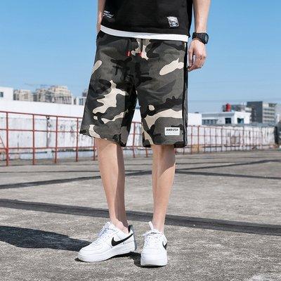 【M-8XL】超大尺碼  爆款 夏季 青春 迷彩 拼接 潮流 時尚 休閒褲 工作褲 潮酷 短裤KZ-610