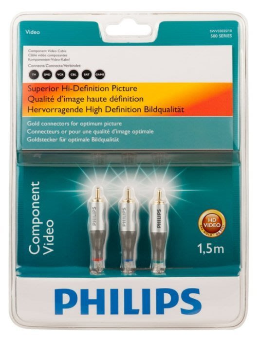 賣場最低 飛利浦 Philips 頂級色差端子線 1.5M 銀 SWV3302S 出清