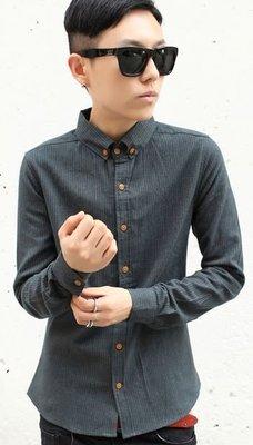 〝MU〞SHOP 小版男裝 0125新款//韓版直條紋修身襯衫-3色//綠色