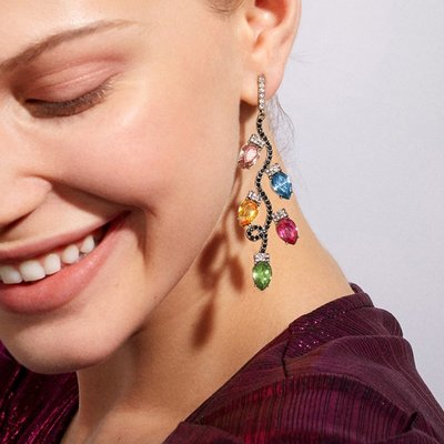 小米粒飾品~高級感宴會耳飾女 新款樹枝造型彩鉆耳環 Bauble同款彩色寶石耳墜