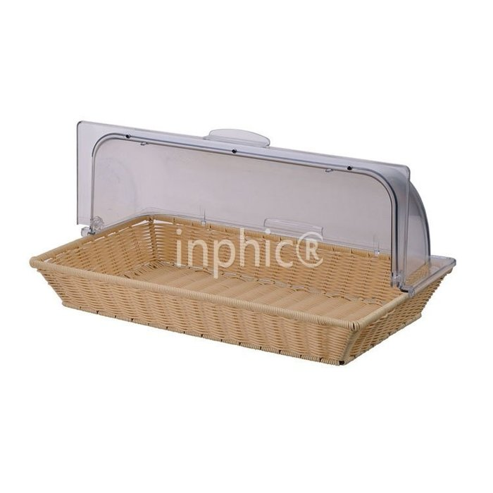 INPHIC-酒店專用帶蓋麵包籃 長方形麵包展示籃 PC透明蓋連PP騰籃麵包籃