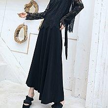 韓國購女裝大青龍肆中低腰半身裙六片傘形復古長款簡約半裙經典百搭大擺裙