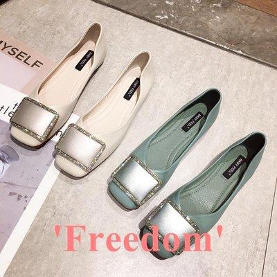Freedom~女鞋英倫風小皮鞋2019新款正韓時尚水鉆金屬方頭復古淺口平底軟底單鞋