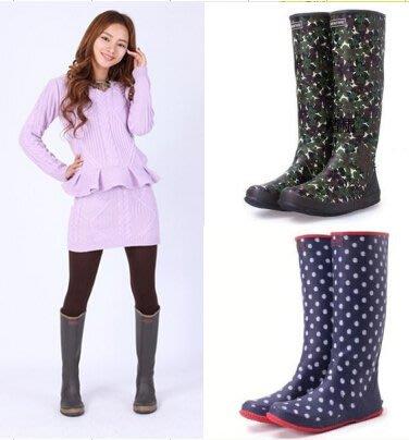 女式長筒春秋夏款柔軟輕便可折疊平底防滑橡膠雨鞋 水鞋 雨靴