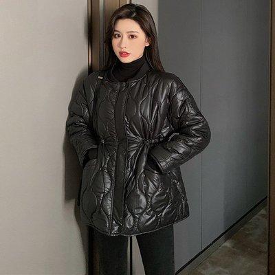 BZA 氣質時髦抽繩收腰寬松長袖菱形紋理羽絨棉服外套女冬季裝棉衣