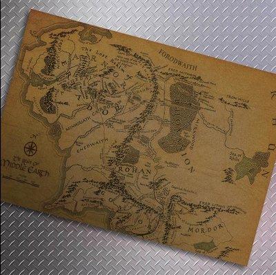 【貼貼屋】魔戒地圖 MIDDLE EARTH 懷舊復古 牛皮紙海報  店面裝飾 經典電影海報 364