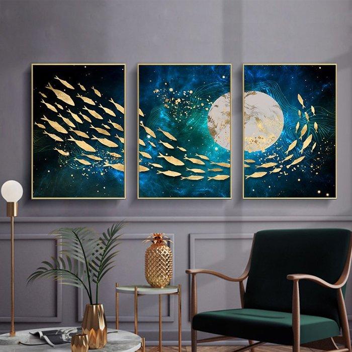 北歐風新中式抽象藍色油畫金色魚群金箔裝飾畫畫芯噴繪打印(3款可選)