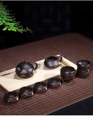 紫砂壺~壽桃西施9件套組/黑金剛