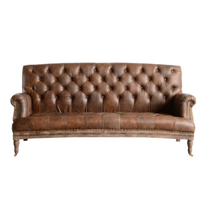 法式餐桌藝術 真皮三人沙發椅