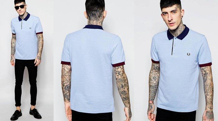 ◎美國代買◎ASOS代買Fred Perry紅色袖口與深藍領口拼接淡藍色復古風經典款短袖polo衫~歐美街風~大尺碼