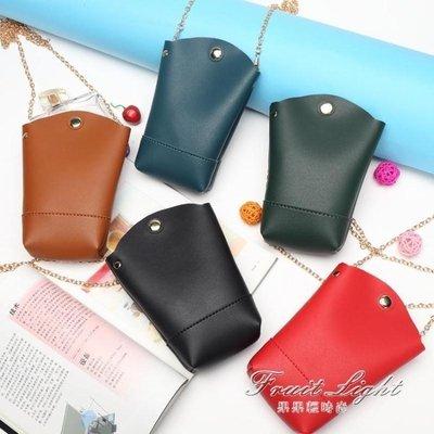 ☜男神閣☞手機小斜背手機斜背錬條復古水桶零錢包