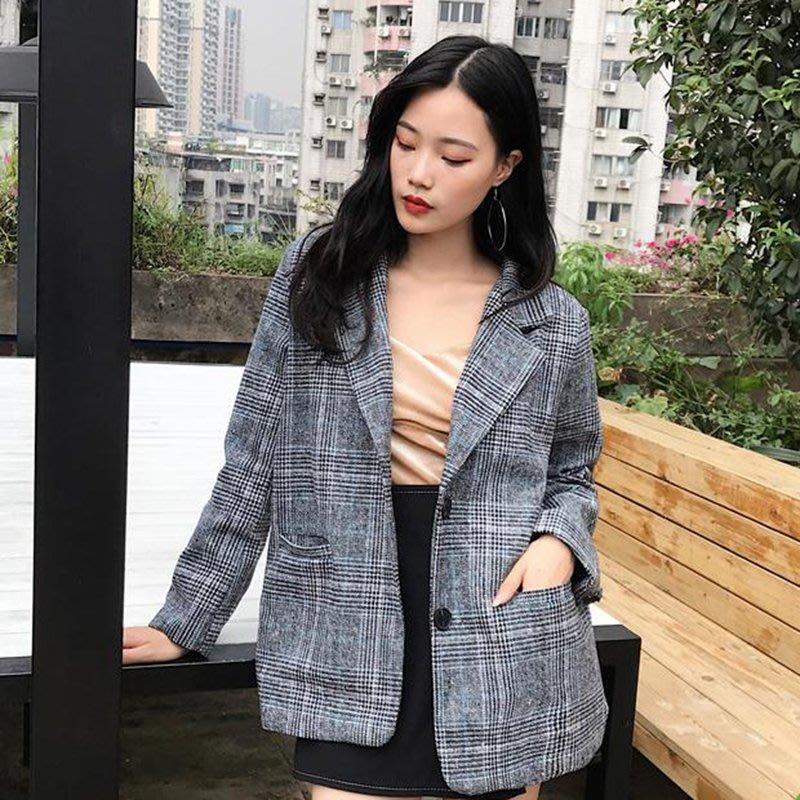 春裝新款女裝韓版寬松復古格子翻領單排扣開衫外套氣質休閑小西裝