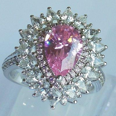 最夯粉鑽專櫃925純銀包白金戒指 微鑲...