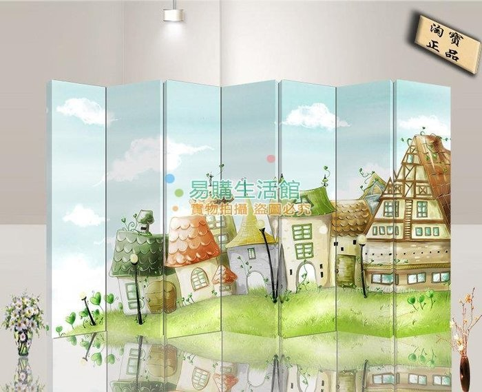 中式時尚家具屏風隔斷玄居時尚折屏酒店卡通世界3【單扇防水】
