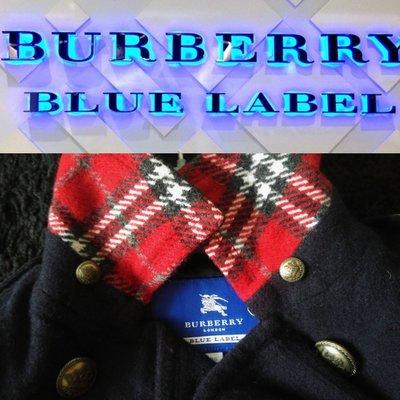 【Burberry London 】Blue Label 深藍色毛呢軍裝金釦短大衣