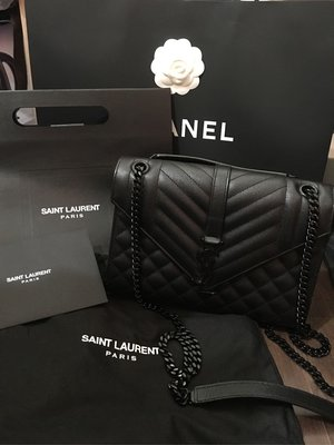 Saint Laurent LOGO牛皮黑鍊包
