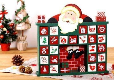 【德興生活館】新品christmas聖誕老人爬煙囪木制日歷盒Advent Calendar夜倒計時日歷